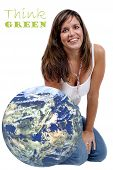 picture of geosphere  - Smiling Woman sitting next to a Globe  - JPG