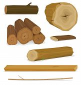 Wood Logs, Trunks And Planks Set