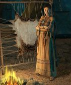 image of tipi  - an american indian woman stands in front of a campfire - JPG