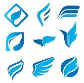 Wing signs. Symbol of lightness, speed, agility