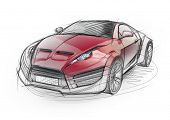 Sketch drawing of a sports car. Non-branded concept car.