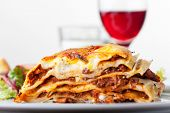 picture of lasagna  - Lasagna an italian pasta dish with wine - JPG