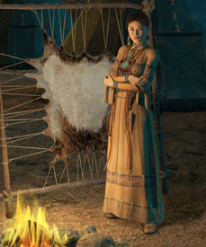 picture of tipi  - an american indian woman stands in front of a campfire - JPG