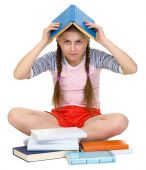 stock photo of blinders  - Young girl with book on head on the white - JPG