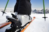 stock photo of ski boots  - Skiing downhill - JPG