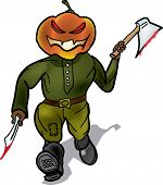 stock photo of murders  - Pumpkin murderer escapes with a knife and a hatchet - JPG