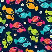 stock photo of pisces  - Seamless cute pisces zodiac sign illustration background pattern in vector - JPG
