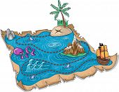picture of raider  - Illustration of a Treasure Map with Three - JPG