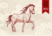 stock photo of chinese new year horse  - 2014 Chinese New Year of the Horse sketch style illustration - JPG