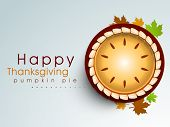 picture of pumpkin pie  - Happy Thanksgiving background with pumpkin pie and maple leaves - JPG