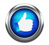 image of three dimensional shape  - Hand Shaped button thumbs up like facebook like button isolated in white - JPG