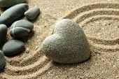pic of pumice-stone  - Grey zen stone in shape of heart - JPG