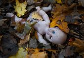 image of doll  - Abandoned doll lies in the autumn leaves - JPG