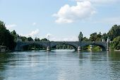 picture of torino  - Torino Po river bridge in summer tourism - JPG