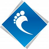 picture of reflexology  - podiatrist foot blue logo for business company - JPG