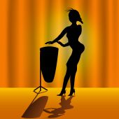 picture of timpani  - Vector illustration of a young female silhouette playing timpani on the stage - JPG
