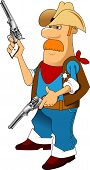 picture of gunfighter  - Cartoon cowboy with his guns drawn - JPG