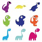image of apatosaurus  - Set Of Different Cute Cartoon Dinosaurs Isolated - JPG