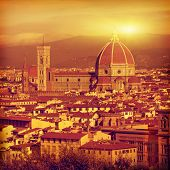 Vintage image of Florence at sunset. Tuscany. Italy.
