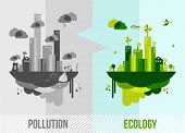 image of pollution  - Go green environment illustration - JPG