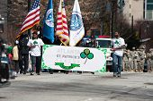 People Carry Banner To Start Atlanta St. Patrick's Parade