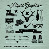 image of rhombus  - Hipster graphic set on the vintage background with repeating geometric tiles of rhombuses - JPG