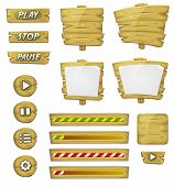 image of cartoons  - Illustration of a set of various cartoon design ui game wooden elements including banners signs buttons load bar and app icon background - JPG