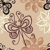 picture of dragonflies  - Seamless Ornate Floral Pattern with Dragonfly  - JPG