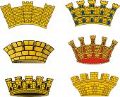 stock photo of mural  - Vector set of heraldic European urban mural crowns - JPG