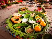 stock photo of nepali  - Offerings made to Hindu gods during a traditional Hindu Nepali Wedding - JPG