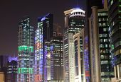 picture of qatar  - Buildings downtown in Doha at night - JPG