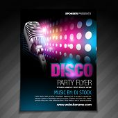 stock photo of newsletter  - vector disco party flyer brochure design - JPG