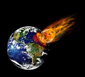 stock photo of meteorite  - Collision planet Earth with enormous fiery meteorite - JPG