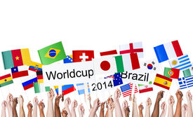 image of flags world  - Raised Arms Holding National Flags and World Cup Banner - JPG