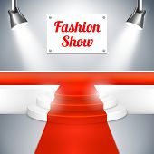 Постер, плакат: Fashion Show catwalk with a red carpet