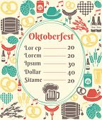 foto of keg  - Oktoberfest menu template with an oval frame enclosing a price list surrounded by icons of German beer in bottles  can  tankard  glass  keg or cask  barrel  hops  barley  sausage and a pretzel - JPG
