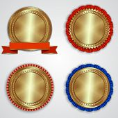 stock photo of gold medal  - Vector set of round gold badge templates with ribbons and place for text - JPG