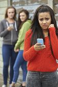 picture of bullying  - Teenage Girl Being Bullied By Text Message  - JPG