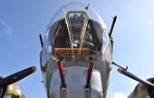 picture of b17  - Close front shot of a WWII era bomber - JPG