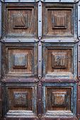 foto of bordure  - Ancient wooden church door with metallic bordures - JPG