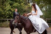 pic of horse face  - young charming brunette bride in white wedding dress and handsome groom in black suit rides on horses - JPG