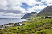 foto of faroe islands  - View of part of the city of Klaksvik in the Faroe Islands Denmark in North Atlantic - JPG