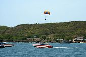 picture of parasailing  - parasailing in Coral island in Pattaya, Thailand