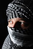 foto of fundamentalist  - Man with arabic palestinian colors - JPG