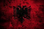 picture of albania  - grunge flag of Albania with capital in Tirana - JPG