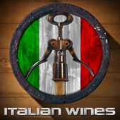 stock photo of italian flag  - Old wooden barrel with Italian flag inside and corkscrew with cork on wooden background and metal text - JPG