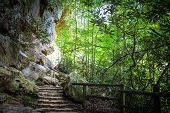 image of stairway to heaven  - Stone staircase along a hiking trail that leads to the Natural Bridge Stone Arch - JPG