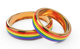 picture of gay wedding  - Gay Wedding Rainbow Rings Isolated on White Background - JPG