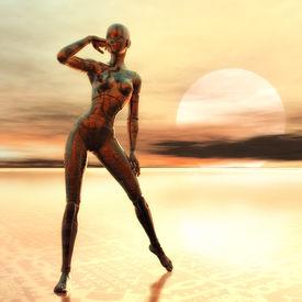 image of cyborg  - Digital 3D Illustration of a female Cyborg - JPG