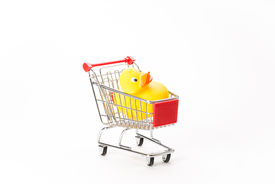 picture of caddy  - Caddy for shopping with duck on white background - JPG